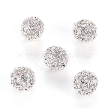 Brass Cubic Zirconia Beads, Filigree Ball, Filigree, Round, Platinum, 10mm, Hole: 1mm(KK-E346-10mm-P)