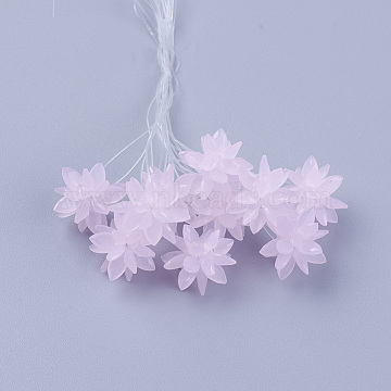 13mm Pink Flower Glass Beads
