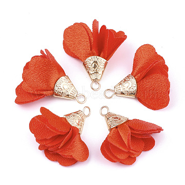 Iron Pendants, with Cloth, Flower, Golden, OrangeRed, 28~32x25~37mm, Hole: 1~4mm(X-FIND-T033-02P)