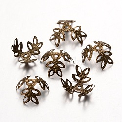 Antique Bronze Iron Bead Caps, Nickel Free, 3-Petal, about 13mm in diameter, 4mm thick, hole: 1mm; about 69pcs/10g(X-E042Y-NFAB)