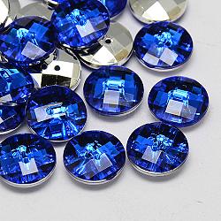 Тайвань акриловые кнопки горный хрусталь, граненые, 2-луночное, диск, синие, 11.5x4 мм, отверстие : 1 мм(BUTT-F022-11.5mm-04)