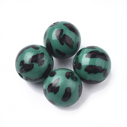 Perles acryliques imprimées, rond, verte, 11.5~12x11mm, trou: 1.8 mm; environ 520 pcs / 500 g(OACR-S022-15E)