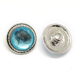 Boutons de résine en alliage, boutons ronds bijoux snap plats, sans plomb & sans nickel & sans cadmium , platine, bleu ciel, 19x11 mm; bouton: 5~6 mm(SNAP-A047-10P-NR)