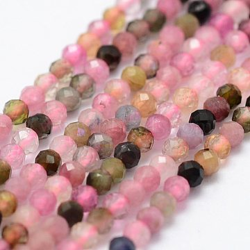 Natural Tourmaline Beads Strands, Faceted, Round, Mixed Color, 2mm, Hole: 0.5mm; about 156pcs/strand, 14.9 inches(38cm)(G-K185-14B)