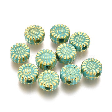 Alloy Beads, Sunflower, Lead Free & Cadmium Free, Golden & Green Patina, 5.5x3mm, Hole: 1.5mm(PALLOY-L222-063GGP-RS)