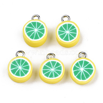Handmade Polymer Clay Charms, with Platinum Tone Iron Findings, Lime Green, 13~15x10.5~11.5x4~5mm, Hole: 1.8mm(X-CLAY-T016-59B)