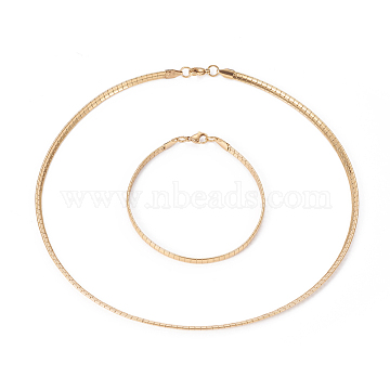Vacuum Plating 304 Stainless Steel Chain Necklaces & Bracelets Sets, with Lobster Claw Clasps, Golden, 17.91 inches(45.5cm), 4mm; 8-1/8 inches(20.5cm), 4x1.3mm(SJEW-E334-01B-G)