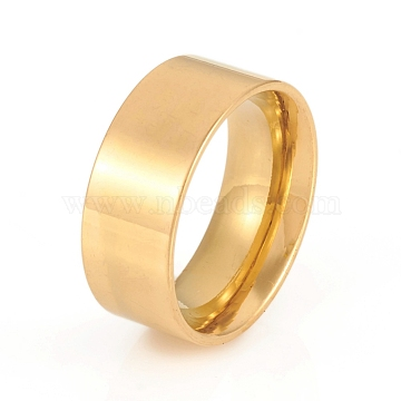 304 Stainless Steel Flat Plain Band Rings, Wide Band Rings, Golden, Size 7, Inner Diameter: 17mm, 8mm(X-RJEW-G106-8mm-7-G)
