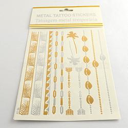 Autocollants en papier métallique de tatouages temporairese en forme mixte amovible d'art corporel cool, couleur mixte, 41~180x3~22 mm; 12 pcs / sac(AJEW-Q081-11)