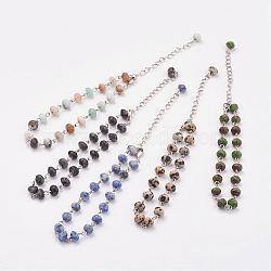 """Perles de pierres mélangées, avec fermoirs en laiton, platine, couleur mixte, 8-5/8"""" (220 mm)(AJEW-AN00198)"""