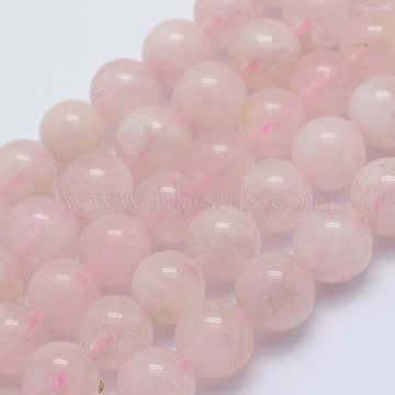 Natural Morganite Beads Strands, Round, Grade AB, 6~6.5mm, Hole: 1mm; about 64pcs/strand, 15.5inches(39.5cm)(G-L478-07-6mm)