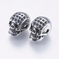 Supports de perles de strass en 304 acier inoxydable, crane, argent antique, 12x7.5x9mm, Trou: 2mm(STAS-I097-057AS)