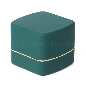 Square Plastic Jewelry Pendant Boxes, with Velvet and LED Light, Dark Slate Gray, 6.5x6.7x5.6cm(OBOX-F005-02A)
