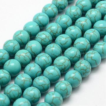 8mm DarkCyan Round Howlite Beads