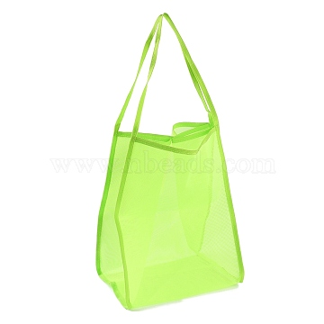 Polyester Mesh Beach Bag, with Handle Mesh Beach Tote Bag Reusable Mesh Shopping Bag, for Travel Toys or Laundry, Linen, 62.4~63cm(ABAG-H101-A01)