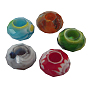 Glass European Beads, Large Hole Beads, No Metal Core, Rondelle, Mixed Color, about 14mm in diameter, 8mm thick, hole: 5mm