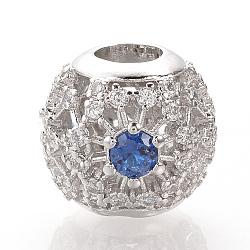 Perles européennes en laiton avec zircone cubique de micro pave, Perles avec un grand trou   , rondelle, platine, bleu, 11x12.5mm, Trou: 4.5mm(ZIRC-T002-91A)