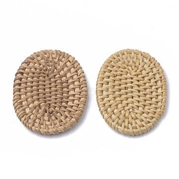 Handmade Reed Cane/Rattan Woven Beads, For Making Straw Earrings and Necklaces, No Hole/Undrilled, Oval, BurlyWood, 65~70x48~52x5~7mm(WOVE-Q075-05)
