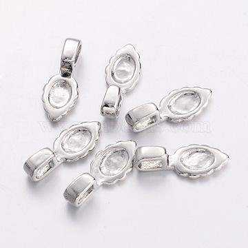 Brass Glue-on Flat Pad Bails, Nickel Free, Platinum, 16x6.5x1.5mm, Hole: 3x2mm(EC055-2NF)
