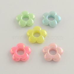 Plaqué couleur ab opaques cadres de perles acryliques, fleur, couleur mixte, 19x4mm, trou: 2 mm; diamètre intérieur: 6 mm(X-SACR-Q106-14)