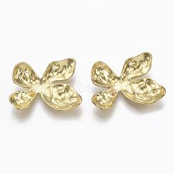 Chevilles en laiton, pour la moitié de perles percées, sans nickel, non plaqué, 17x22x5 mm; broches: 0.7 mm(KK-S349-217-NF)