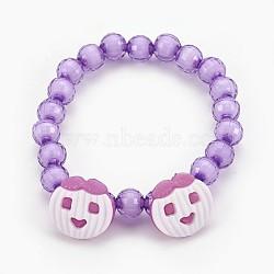 """Bracelets extensibles en perles acryliques pour enfants, boutons en acrylique avec pomme, lilas, 1-7/8"""" (4.8 cm)(BJEW-JB03887-05)"""