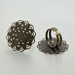 Adjustable Brass Filigree Ring Setting Components, Flower Pad Ring Bases, Nickel Free, Antique Bronze, 18mm, Tray: 30mm(KK-J181-19AB-NF)