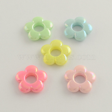 AB Color Plated Opaque Acrylic Bead Frames, Flower, Mixed Color, 19x4mm, Hole: 2mm; Inner diameter: 6mm(X-SACR-Q106-14)