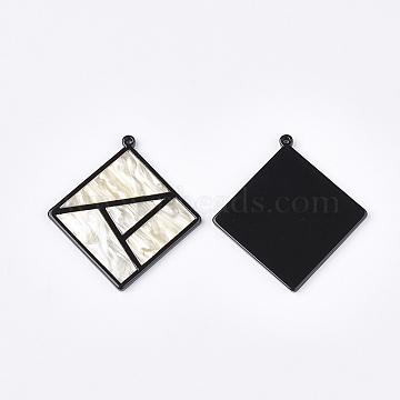 gros pendentifs en acétate de cellulose (résine), losange, oldlace, 56x52x3 mm, trou: 1.8 mm; longueur de côté: 38 mm(X-KY-S158-50E)