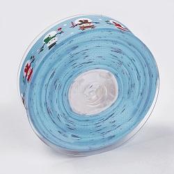 """Rubans gros grain imprimés polyester, le thème de Noël, bonhomme de neige, bleu ciel, 1"""" (25 mm); environ 100yards / rouleau (91.44m / rouleau)(ORIB-E002-D03)"""
