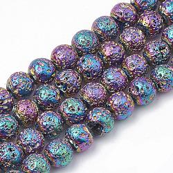 """Chapelets de perles en lave naturelle électrolytique, rond, cahoteuse, colorées, 8~8.5mm, trou: 1mm; environ 46 pcs/chapelet, 14.5""""(X-G-T098-01C-01)"""