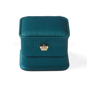 PU Leather Ring Storage Box, Plush Interior Gift Case, for Jewelry Showcase Ring Holder, Dark Cyan, 5.85x5.85x4.8cm(X-OBOX-D007-08)