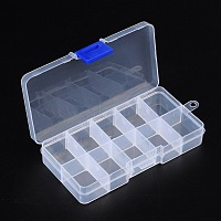 Plastic Clear Beads Display Storage Case Box, Bead Storage Containers, with Adjustable Dividers Removable Grid Compartment, 7x13x2.3cm