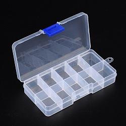 Clairement boîte de cas de stockage d'affichage de perles de plastique, récipients de stockage de talon, 7x13x2.3 cm(X-C006Y)