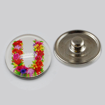 Holiday Buttons, Christmas Flat Round with Letter U Zinc Alloy Jewelry Snap Buttons, with Glass Cabochons, Platinum, Colorful, 18x8~10mm, Knob: 5~5.5mm(X-GLAA-R031-K186B)