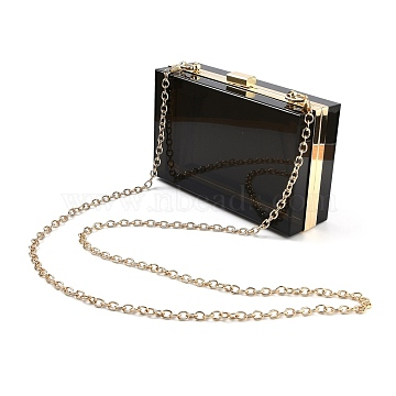 Acrylic Women's Transparent Bags Crossbody Bags, with Iron Chains Shoulder Strap, for Work, Events, Makeup Sturdy Transparent Pocketbook, Rectangle, Black, 12x18.3x5.4cm(AJEW-C004-01C)