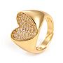 регулируемые латунные кольца микро манжеты из прозрачного циркония, сердце, золотой, Размер 7, Внутренний диаметр: 17 mm