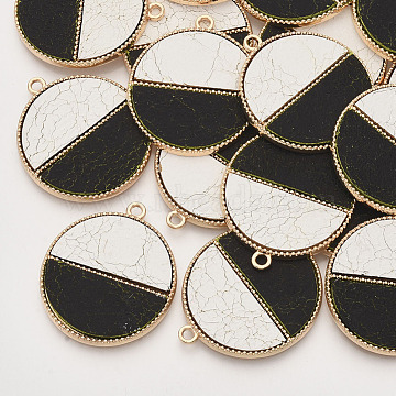 Environmental Cowhide Leather  Pendants, with Golden Plated Alloy Cabochon Settings, Two Tone, Flat Round with Imitation Marble Pattern, Seashell Color, 33x28.5x2mm, Hole: 1.8mm(X-FIND-N049-01O)
