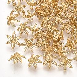 Pendentifs en laiton, pour la moitié de perles percées, fleur, véritable 18k plaqué or, 10x9x7~7.5mm, trou: 1.4 mm; broches: 1 mm(KK-T035-93)