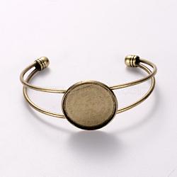 изготовление браслета манжеты из никелированной латуни, пустое основание браслета, с плоской круглой лоток, античная бронза, 60 mm, лоток: 25 mm(KK-J184-49AB-NF)