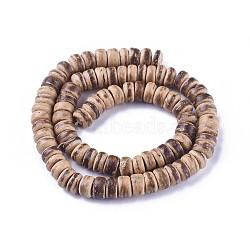 """Кокосового ореха бисер нитей, плоско-круглые, цвет шоколада, 7x4 мм, Отверстие : 1 мм; около 88 шт / нитка, 16""""(X-CP014Y)"""