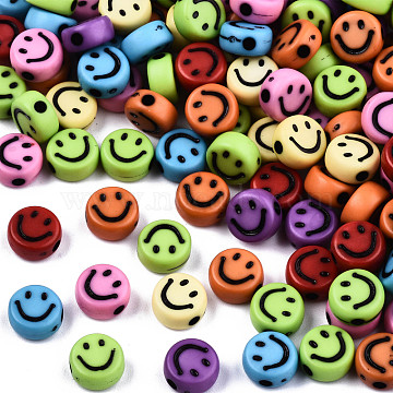 Opaque Craft Acrylic Beads, Flat Round with Smiling Face, Mixed Color, 7x3.5mm, Hole: 1.5mm, about 363pcs/50g(X-MACR-S369-003B-02)