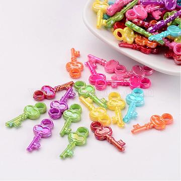 Opaque AB Color Acrylic Skeleton Key Pendants, Mixed Color, 23x10x3mm, Hole: 3mm(X-SACR-R697-M24)