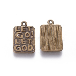 Pendentifs en alliage de style tibétain, rectangle avec la phrase laisser aller laisser Dieu, Sans cadmium & sans nickel & sans plomb, bronze antique, 20x12.8x1.5mm, Trou: 1.5mm(X-TIBEP-S299-25AB-NR)