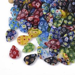 Breloques en verre fait main millefiori, larme, couleur mixte, 12x8.5x3.5mm, Trou: 1mm(LK-T001-03)