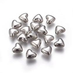 Alloy Beads, Heart, Platinum, 8.5x9.5x5.5mm, Hole: 1mm(PALLOY-I127-12P)