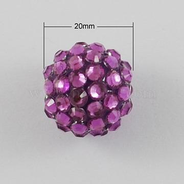 20mm MediumOrchid Round Resin + Rhinestone Beads