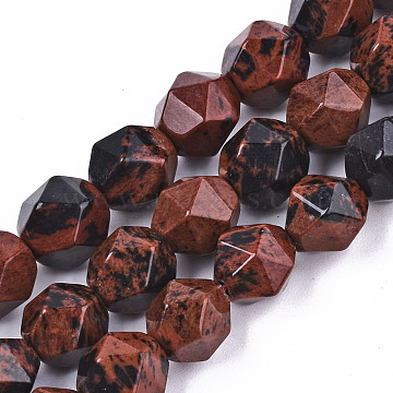 Natural Mahogany Obsidian Beads Strands, Star Cut Round Beads, Faceted, 9~10x10mm, Hole: 1.2mm, about 36~37pcs/strand, 14.96 inches(38cm)(G-S368-013C)