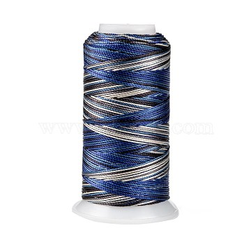 Segment Dyed Round Polyester Sewing Thread, for Hand & Machine Sewing, Tassel Embroidery, Dark Blue, 3-Ply 0.2mm, about 1000m/roll(OCOR-Z001-A-01)