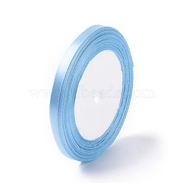 Single Face Satin Ribbon, Polyester Ribbon, LightSkyBlue, 1/4inch(6mm); about 25yards/roll(22.86m/roll), 10rolls/group, 250yards/group(228.6m/group)(RC012-104)